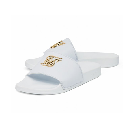 SIKSILK Roma Lux Slides White & Gold